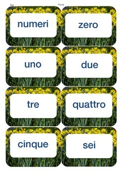 Italian/English number flash cards