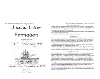 Italic Cursive #2 Joined Letter Formation in BFH
