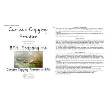 Italic Cursive #4 Cursive Copying in BFH
