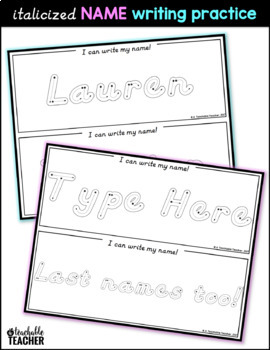 Italicized Writing Name Practice Mats