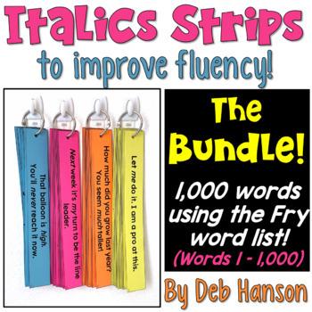 Italics Sentence Strips BUNDLE! (Fluency Center) featuring