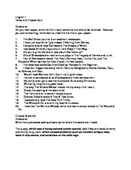 Italics and Ellipses Quiz