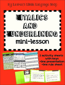 Italics and Underlining Mini-Lesson