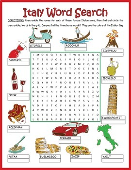 Italy Word Search Puzzle: Italian Icons