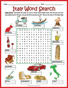 All About Italy Word Search