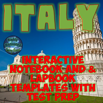 Italy Interactive Notebook Activities with Differentiated ELA Test Prep