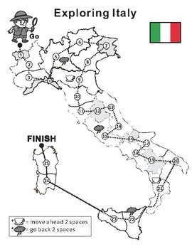 Italy Map Blank Game board