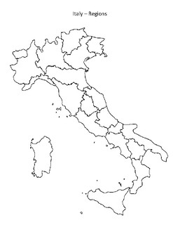 Black And White Map Of Italy.Italy Map Regions Black White