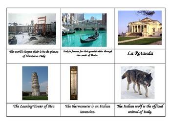 Italy Montessori Fact Cards