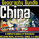 China Physical Geography Bundle Lesson Plans, Map Activities & Quizzes
