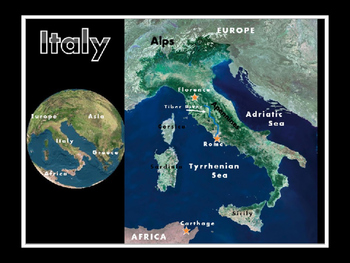 Italy Satellite Map Physical Geography PowerPoint Introduction