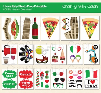 Italy Theme Photo Booth Props & Decorations - 43 unique printable prop