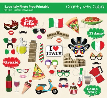 picture relating to Printable Photo Props referred to as Italy Topic Photograph Booth Props Decorations - 43 one of a kind printable prop