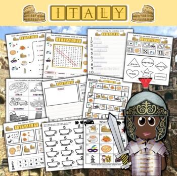 Italy Themed Activity Set + Flashcards