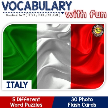 Italy - Country Symbols: 5 Different Word puzzles and 30 Photo Flash Cards