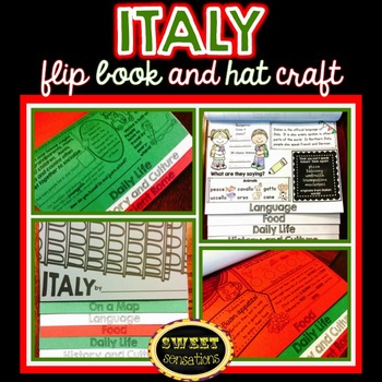Italy flip book and hat craft activity