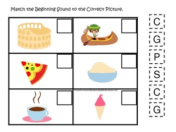 Italy themed Match the Beginning Sound preschool learning game.  Daycare.