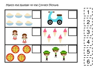 Italy themed Match the Number preschool printable.  Homesc