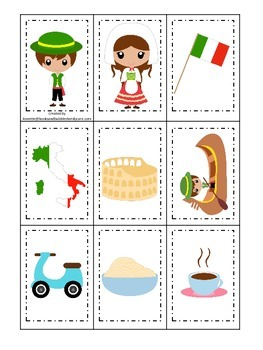 Italy themed Memory Matching preschool learning game.  Daycare.