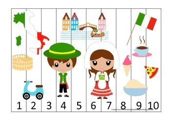 Italy themed Number Sequence Puzzle preschool learning game.  Daycare.