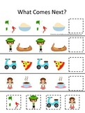 Italy themed What Comes Next preschool educational learning game.  Daycare.