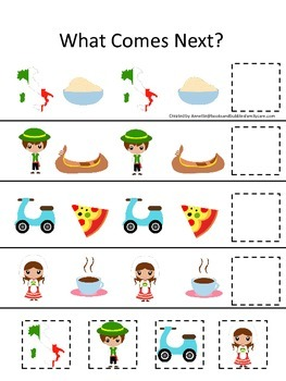 Italy themed What Comes Next preschool educational learnin