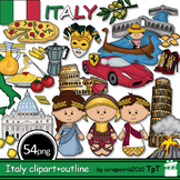 Italy clipart 54 files coloring + black and white, Bundle