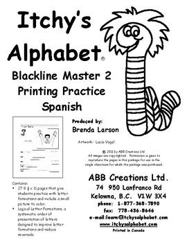 Itchy's Alphabet Printing Practice - Spanish