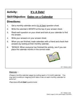 It's A Date! - Dates on a Calendar