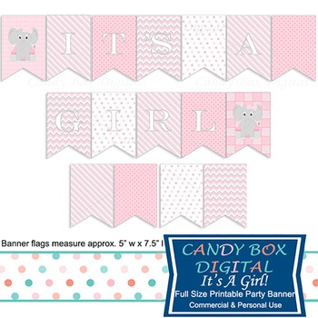 It's A Girl Baby Elephant Printable Shower Party Banner