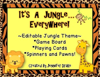 It's A Jungle  In  Here!  Editable Game Board, Cards, Spin
