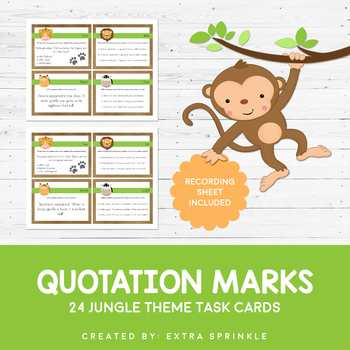 It's A Jungle Quotation Mark Task Cards