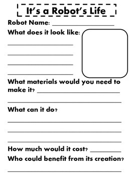 It's A Robot's Life Worksheet - Design your own