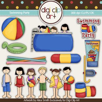 It's A Swimming Party- Digi Clip Art/Digi Stamps - CU Clip Art
