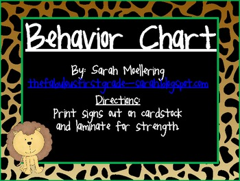It's A Zoo Themed Behavior Chart (clip-up, clip-down)