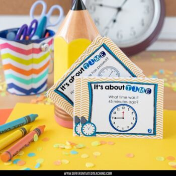 24 Time Task Cards for Math Centers: Telling Time & Calculating Elapsed Time