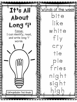 It's All About Long 'i' Word Work Foldable