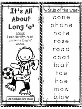 It's All About Long 'o' Word Work Foldable