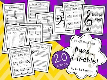 Bass and Treble Clef Worksheets- BIG Bundle!
