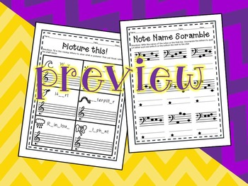 Bass and Treble Clef Worksheets- BIG Bundle!
