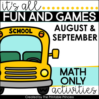 It's All Fun & Games {Back to School Activities for Kindergarten} MATH ONLY