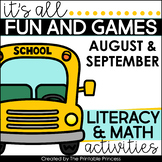 Back to School Activities: Kindergarten Math and Literacy