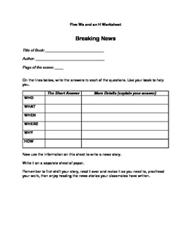 Fiction Book Report: Write a News Story.  It's All Here. Grades 4 and 5