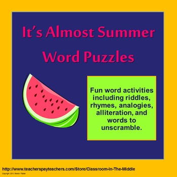 It's Almost Summer Word Puzzles PowerPoint