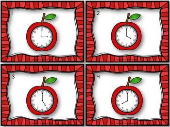 It's Apple Time Fall Harvest Task Cards for Telling Time Game with Analog Clocks