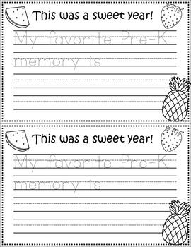 It's Been a Sweet Year! Preschool Writing Template