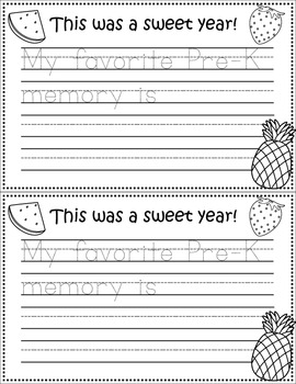 It's Been a Sweet Year! Preschool Writing Template