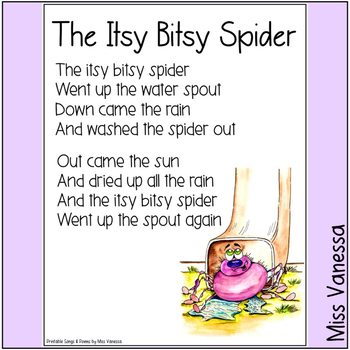 The Itsy Bitsy Spider Went Up The Water Spout ~ Printable Poem ~ Poetry for Kids