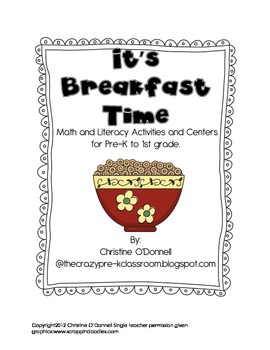 It's Breakfast Time Math and Literacy Unit