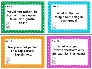 Back to School Task Cards: Getting To Know You